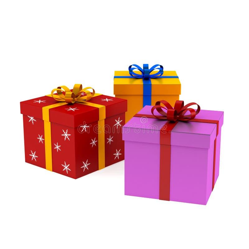 Σύνολο Χριστουγέννων και birhday κιβωτίων δώρων/  στοκ εικόνες
