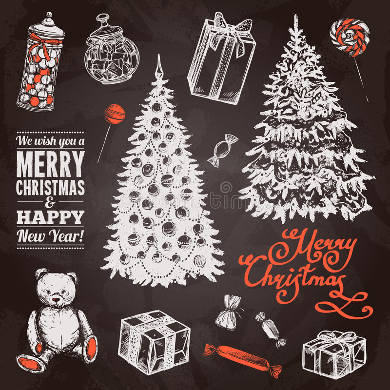 Σύνολο Χριστουγέννων πινάκων κιμωλίας διανυσματική απεικόνιση