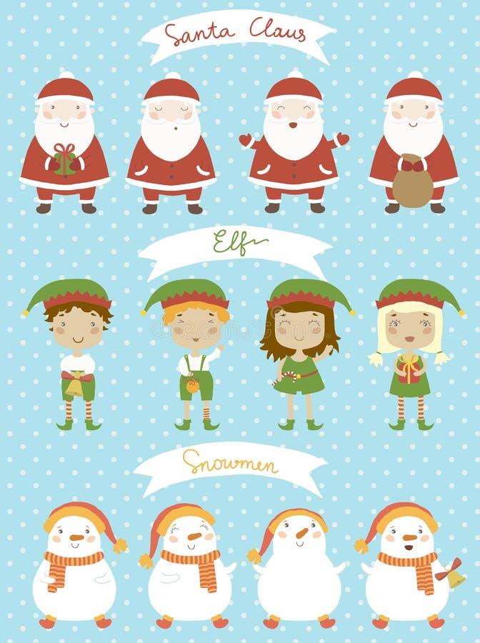 Σύνολο Χριστουγέννων. Χαρακτήρες κινουμένων σχεδίων στο διάνυσμα διανυσματική απεικόνιση