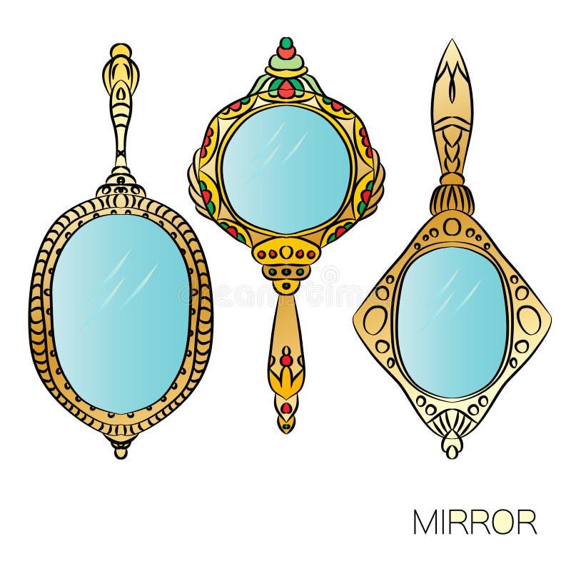 Σύνολο χρυσού εκλεκτής ποιότητας καθρέφτη χεριών τρία απεικόνιση αποθεμάτων
