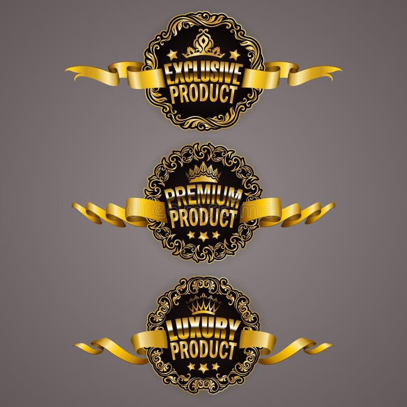 Σύνολο χρυσών διακριτικών πολυτέλειας ελεύθερη απεικόνιση δικαιώματος