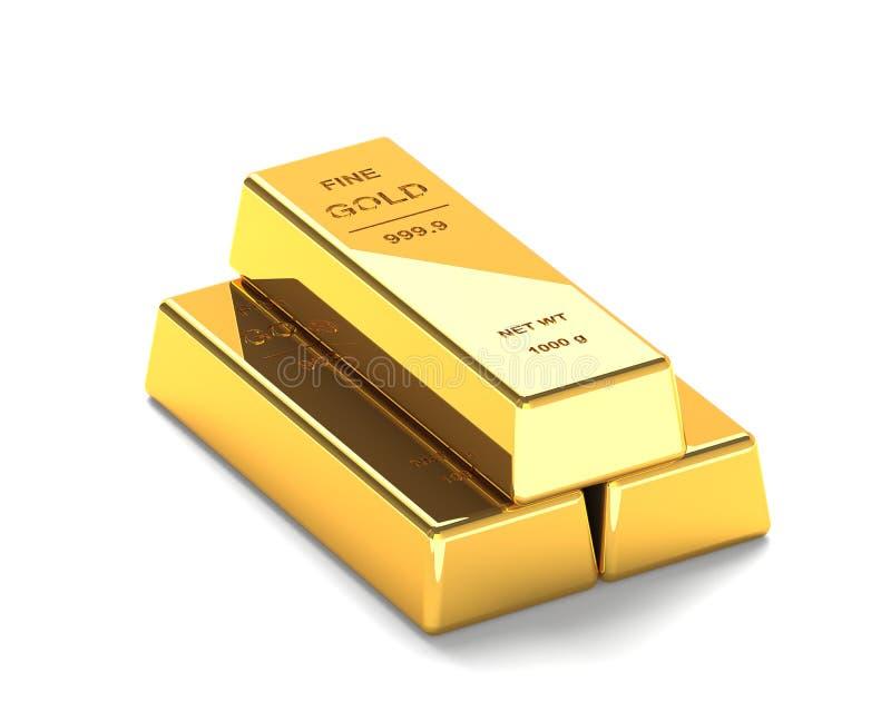 Σύνολο χρυσών φραγμών στο άσπρο υπόβαθρο απεικόνιση αποθεμάτων