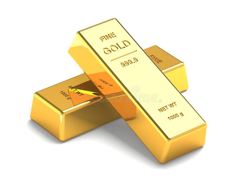 Σύνολο χρυσών φραγμών στο λευκό διανυσματική απεικόνιση