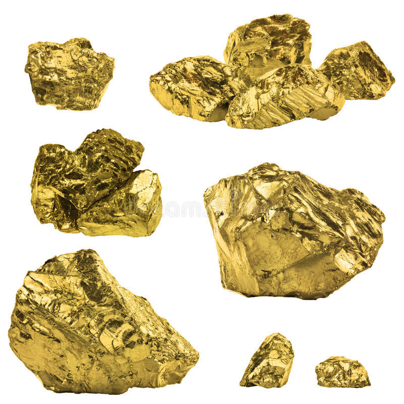 Σύνολο χρυσών ψηγμάτων που απομονώνεται στο άσπρο υπόβαθρο Διαφορετικό BA στοκ φωτογραφίες με δικαίωμα ελεύθερης χρήσης