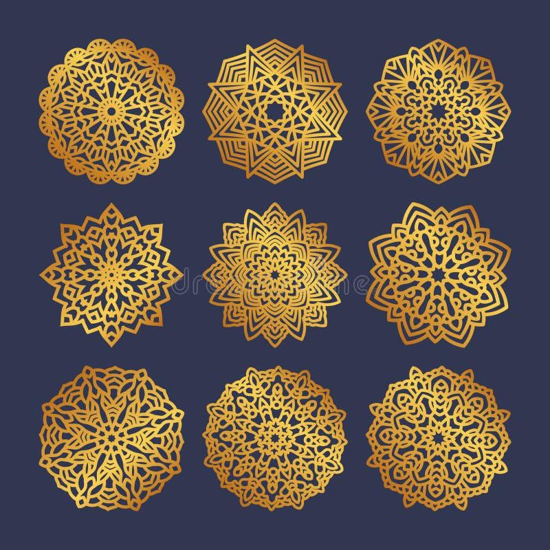 Σύνολο χρυσών mandalas Ινδική γαμήλια περισυλλογή ελεύθερη απεικόνιση δικαιώματος