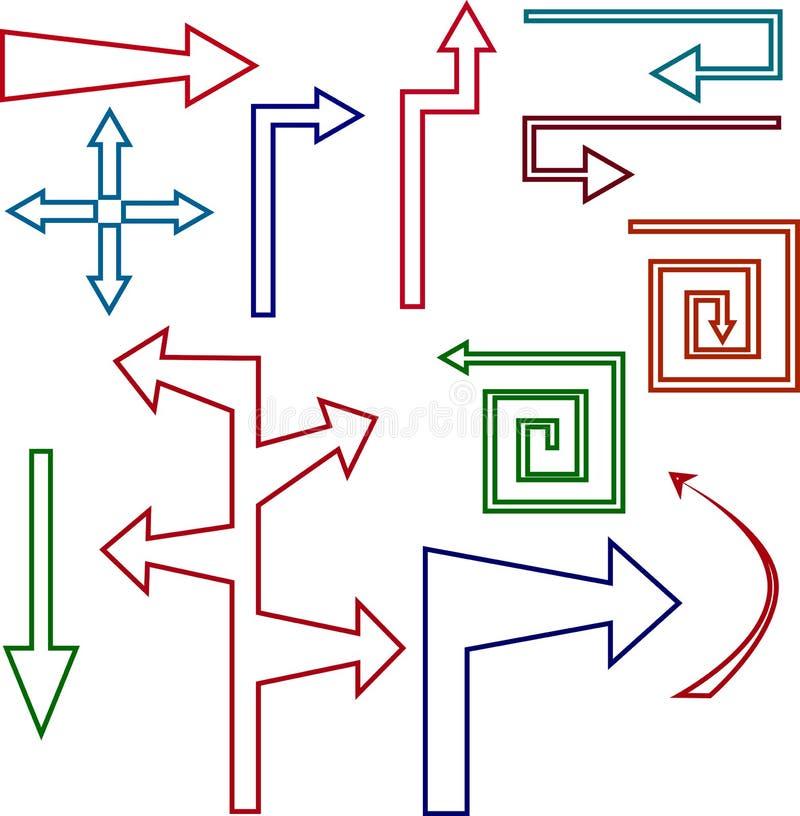 Σύνολο χρωματισμένων βελών και δεικτών περιγράμματος διανυσματική απεικόνιση