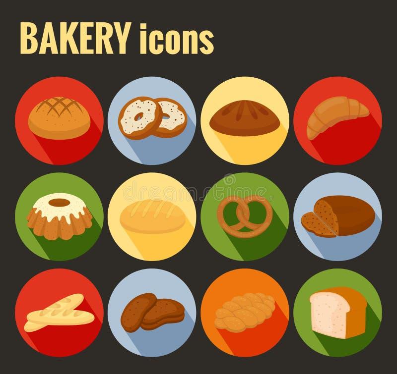 Σύνολο χρωματισμένων διανυσματικών εικονιδίων αρτοποιείων απεικόνιση αποθεμάτων