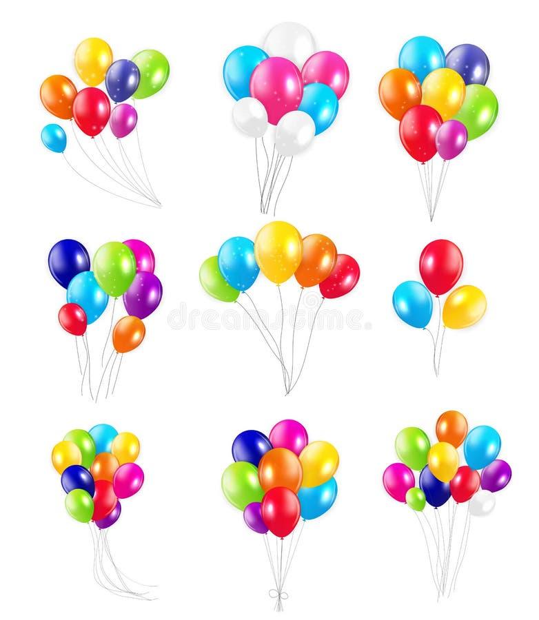 Download Σύνολο χρωματισμένων μπαλονιών, διανυσματική απεικόνιση Διανυσματική απεικόνιση - εικονογραφία από καπέλο, κάρτα: 62715917