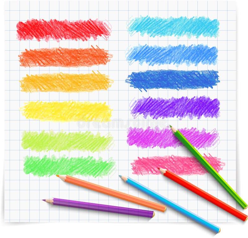 Σύνολο χρωματισμένων doodle εμβλημάτων σκίτσων διανυσματική απεικόνιση