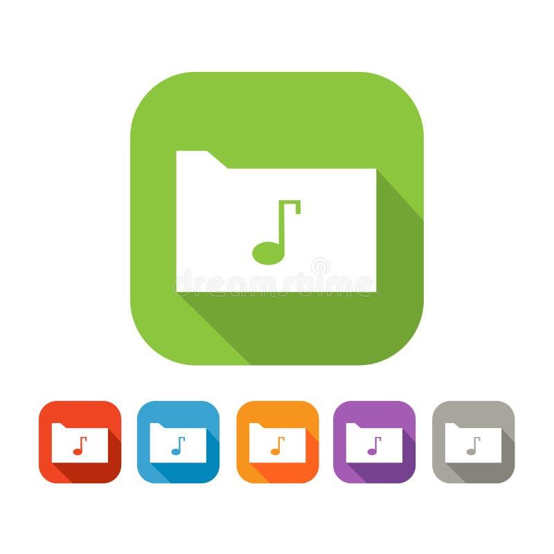 Σύνολο χρώματος επίπεδου φακέλλου με τη σημείωση μουσικής ελεύθερη απεικόνιση δικαιώματος