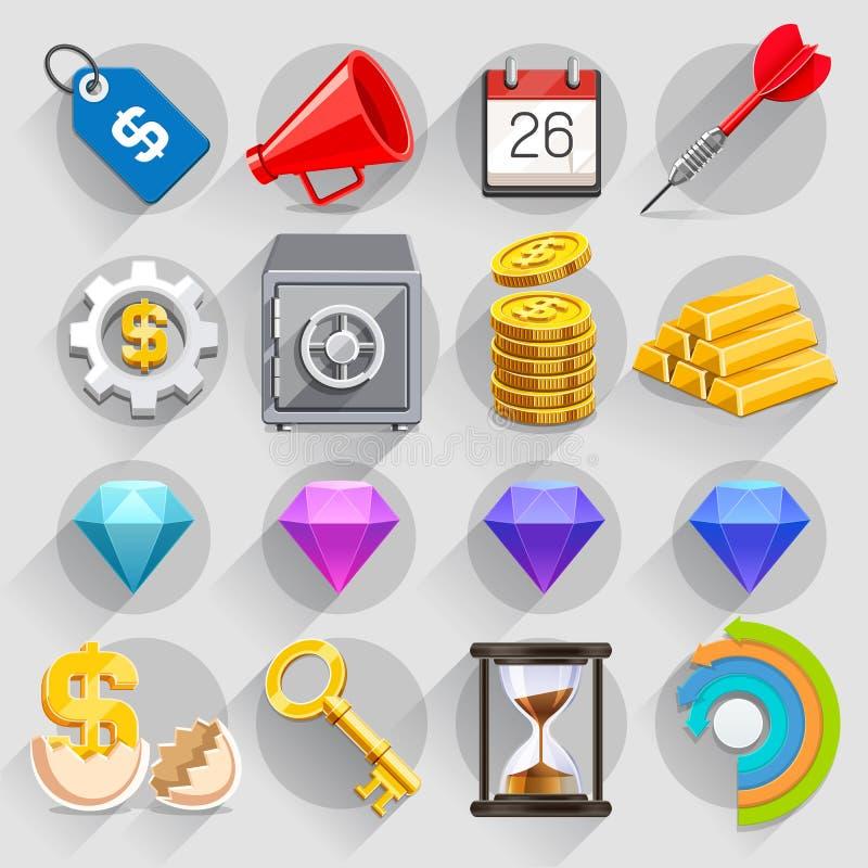 Σύνολο χρώματος επιχειρησιακών επίπεδο εικονιδίων απεικόνιση αποθεμάτων