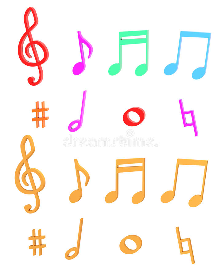 Σύνολο χρώματος σημειώσεων μουσικής διανυσματική απεικόνιση