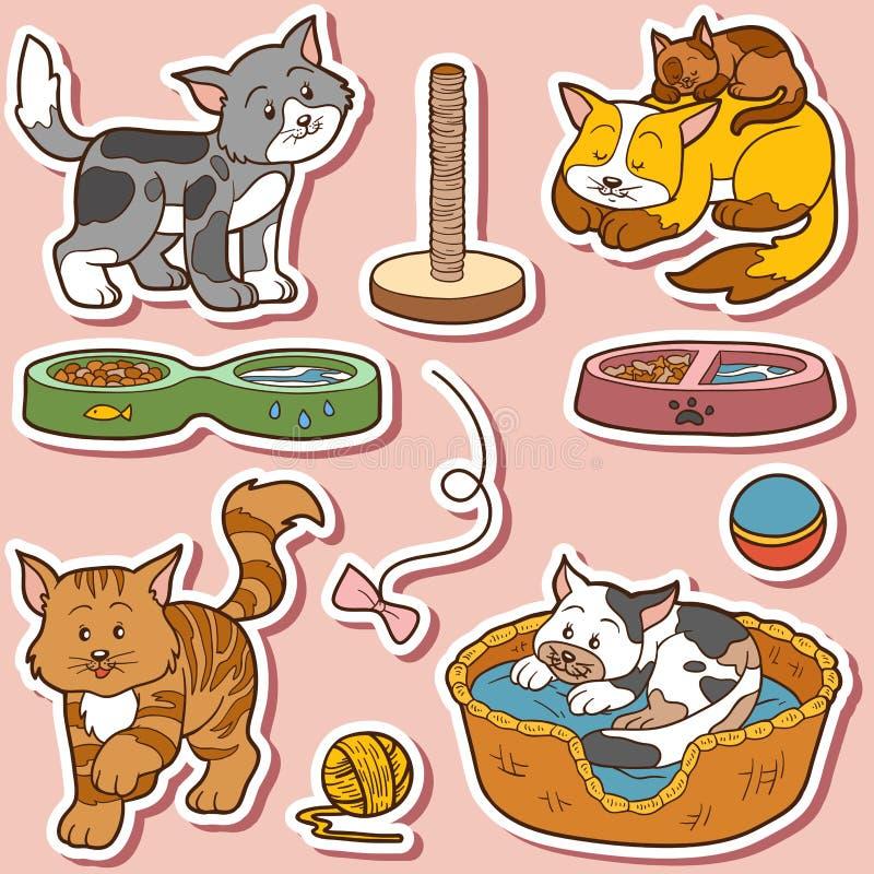 Σύνολο χρώματος χαριτωμένων γατών και αντικειμένων ελεύθερη απεικόνιση δικαιώματος