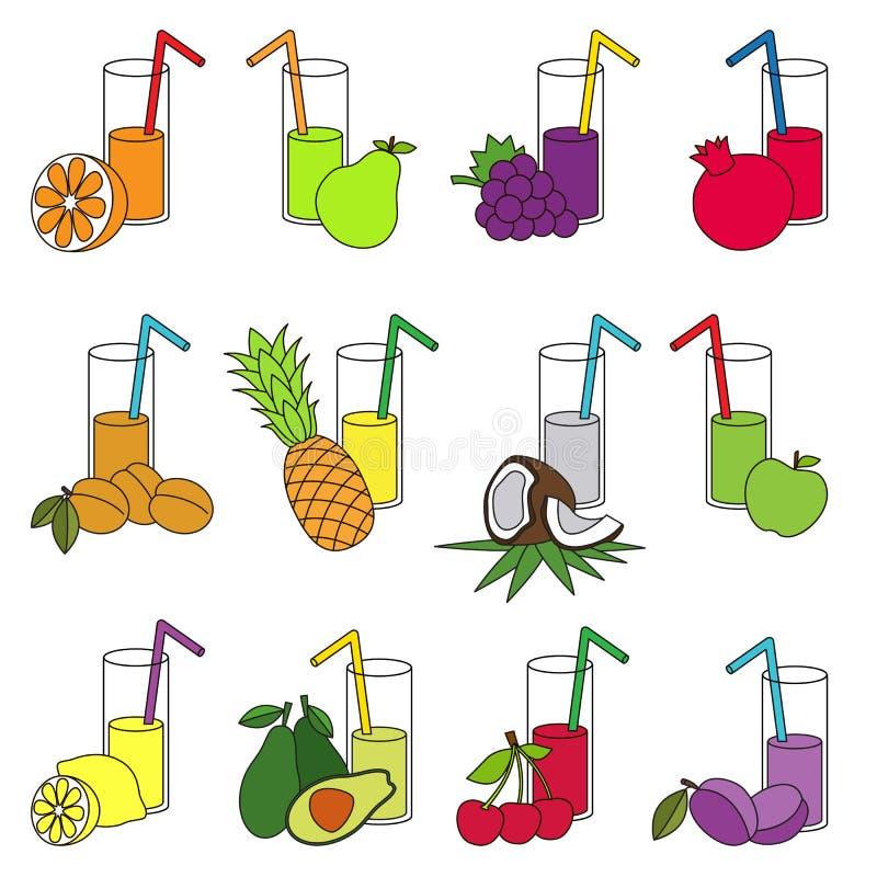Σύνολο χυμών φρούτων ζωηρόχρωμων απεικόνιση αποθεμάτων