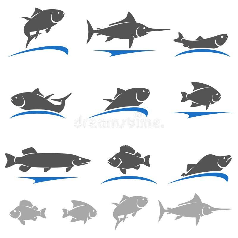 Σύνολο ψαριών διάνυσμα διανυσματική απεικόνιση