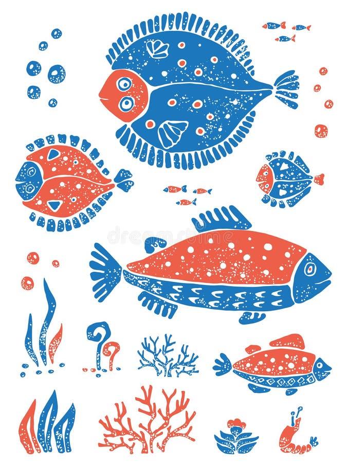 Σύνολο ψαριών στο αφελές ύφος lino διανυσματική απεικόνιση
