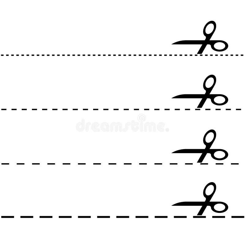 Σύνολο - ψαλίδι με την ορμούμενη γραμμή διανυσματική απεικόνιση