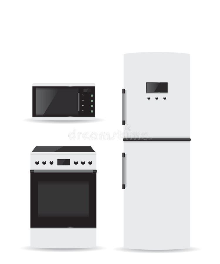Σύνολο ψυγείου και σόμπας μικροκυμάτων οικιακών συσκευών απεικόνιση αποθεμάτων