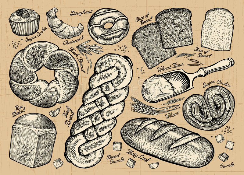 Σύνολο ψωμιού, προϊόντα αρτοποιίας επίσης corel σύρετε το διάνυσμα απεικόνισης διανυσματική απεικόνιση