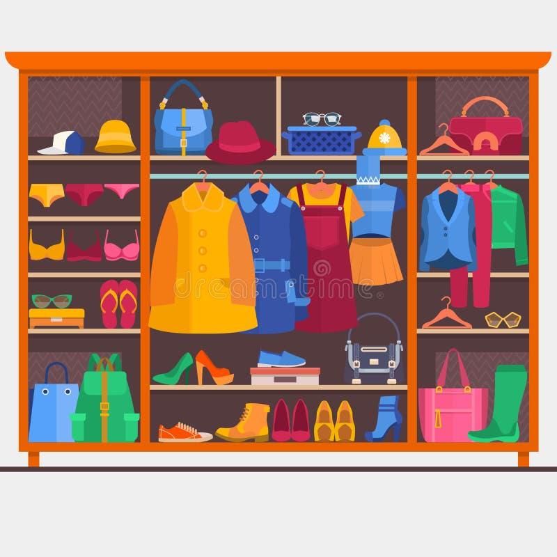 Σύνολο δωματίων ντουλαπών των υφασμάτων γυναικών s επίσης corel σύρετε το διάνυσμα απεικόνισης ελεύθερη απεικόνιση δικαιώματος