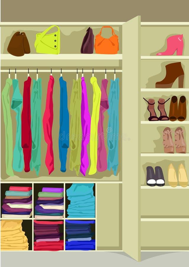 Σύνολο δωματίων ντουλαπών των υφασμάτων της γυναίκας απεικόνιση αποθεμάτων