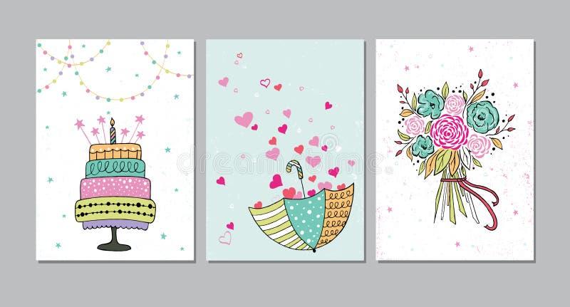 Σύνολο όμορφης γενεθλίων, αγάπης, καρτών πρόσκλησης συγχαρητηρίων που διακοσμούνται με τη ζωηρόχρωμη ανθοδέσμη, κέικ και ομπρέλας διανυσματική απεικόνιση