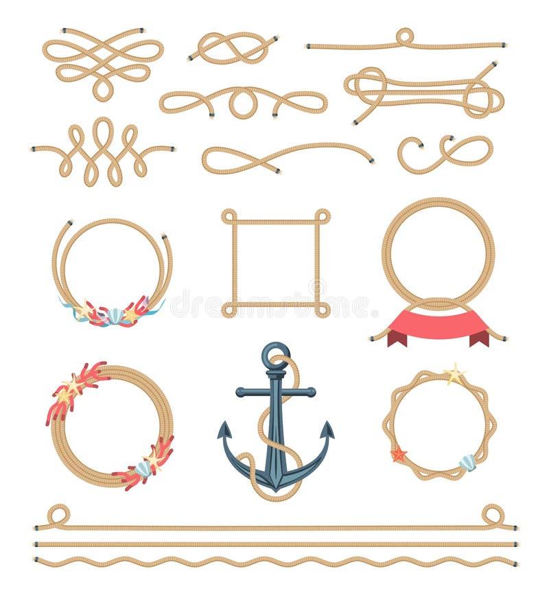 Σύνολο όμορφων στοιχείων φιαγμένων από ναυτικό σχοινί ελεύθερη απεικόνιση δικαιώματος