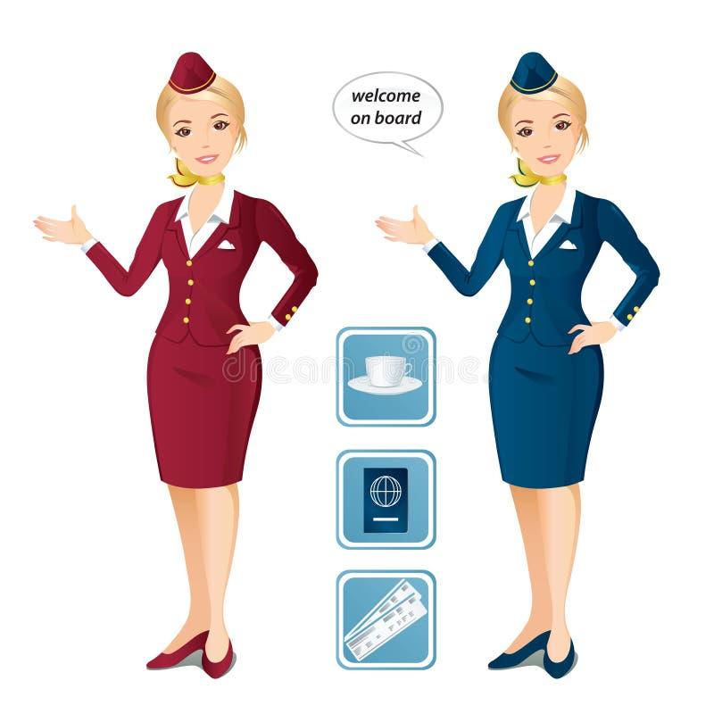 Σύνολο δύο αεροσυνοδών και των εικονιδίων ελεύθερη απεικόνιση δικαιώματος