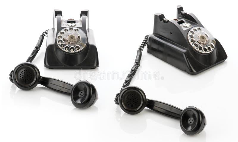 Σύνολο δύο εκλεκτής ποιότητας τηλεφώνων που απομονώνεται σε ένα άσπρο υπόβαθρο στοκ φωτογραφία
