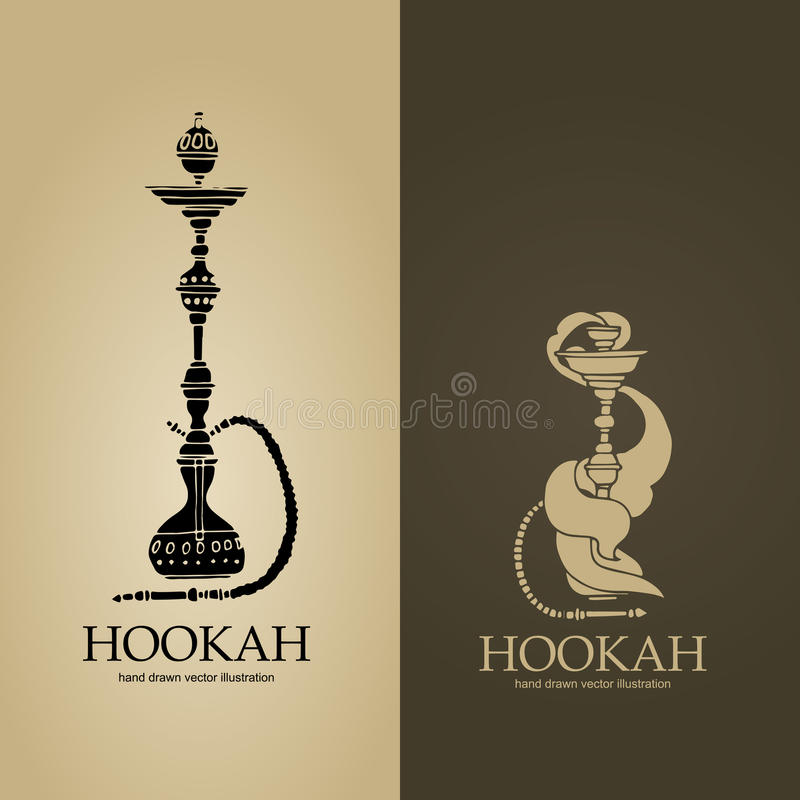 Σύνολο δύο μπεζ και καφετιών λογότυπων hookah στοκ φωτογραφία με δικαίωμα ελεύθερης χρήσης