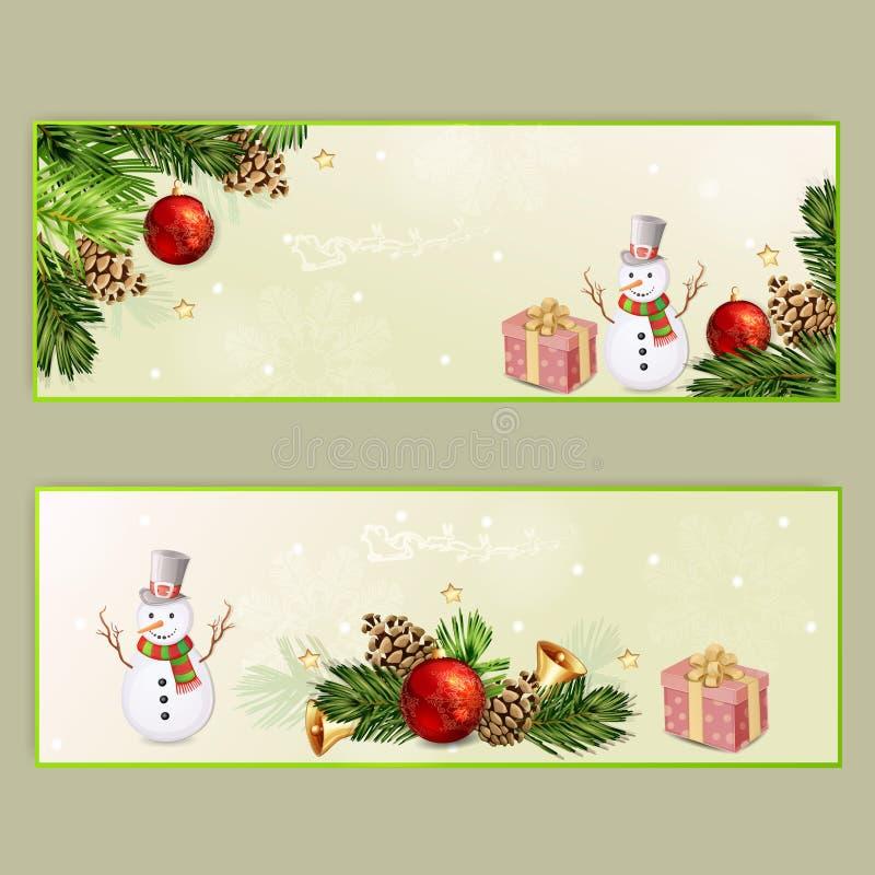 σύνολο δύο Χριστουγέννων εμβλημάτων ελεύθερη απεικόνιση δικαιώματος