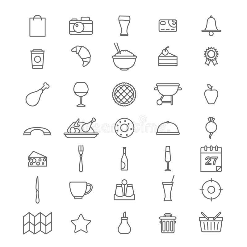 Σύνολο ύφους τέχνης γραμμών γραφικό οριζόντια app εκτίμησης κράτησης εντοπιστών pizzeria γρήγορου γεύματος εστιατορίων καφέδων δι διανυσματική απεικόνιση