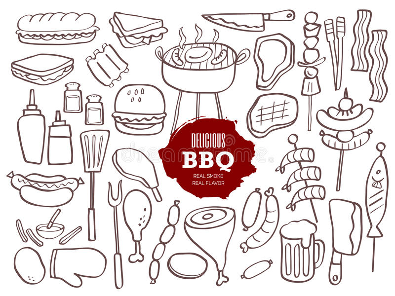 Σύνολο BBQ doodles ελεύθερη απεικόνιση δικαιώματος