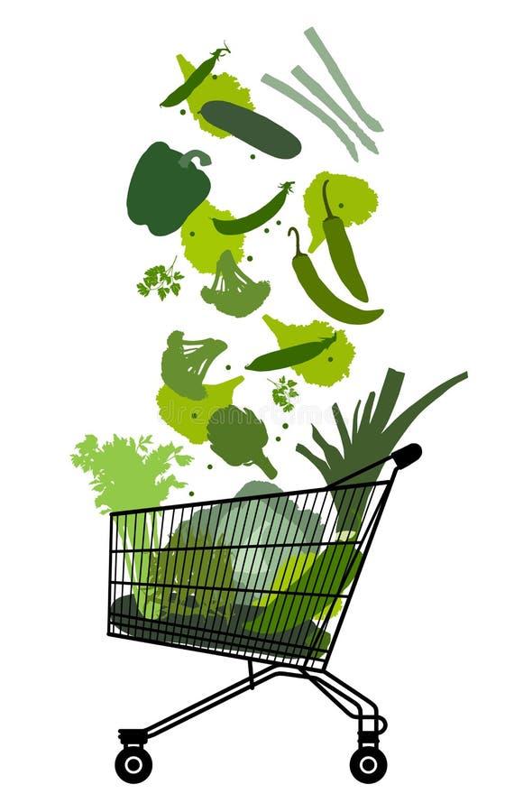 Caddy με τα πράσινα λαχανικά ελεύθερη απεικόνιση δικαιώματος