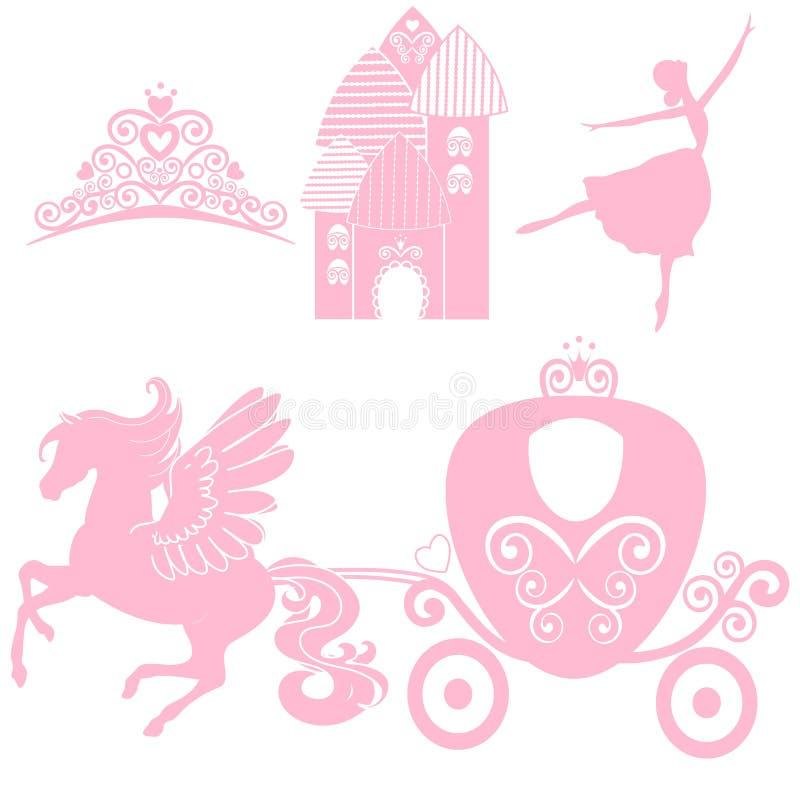 Σύνολο Cinderella συλλογών Κορώνα, διανυσματική απεικόνιση στοιχεία σχεδίου για λίγη πριγκήπισσα, κορίτσι γοητείας ελεύθερη απεικόνιση δικαιώματος