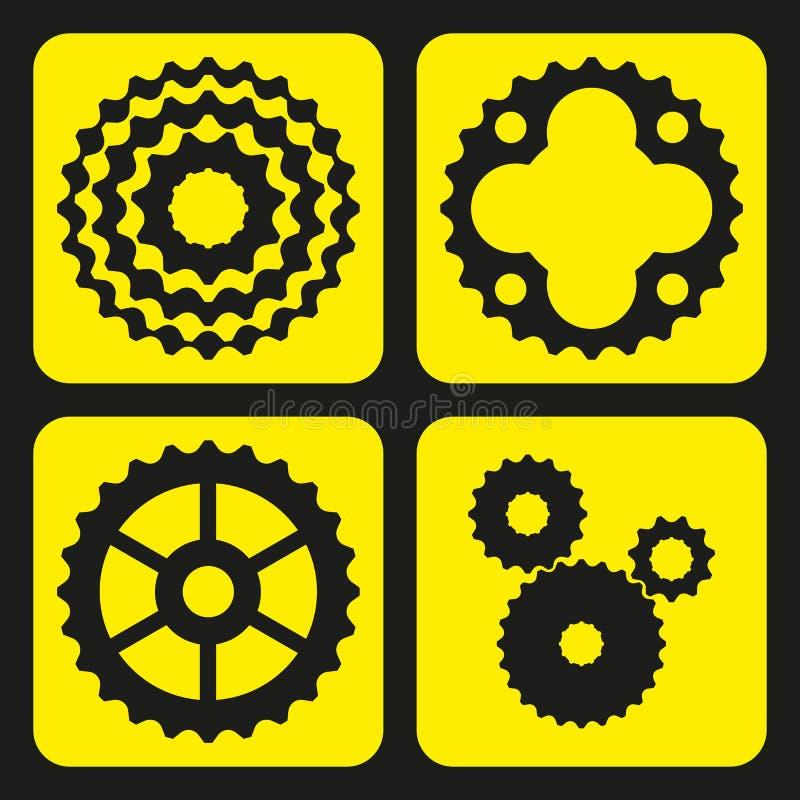 Σύνολο cogwheels ποδηλάτων (ή ροδών εργαλείων) ελεύθερη απεικόνιση δικαιώματος
