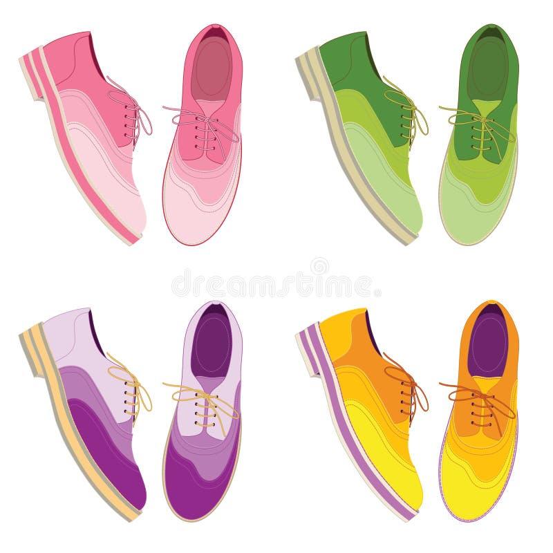 Σύνολο - colorfull παπούτσια Τοπ άποψη παπουτσιών περιστασιακά υποδήματα στοκ εικόνες