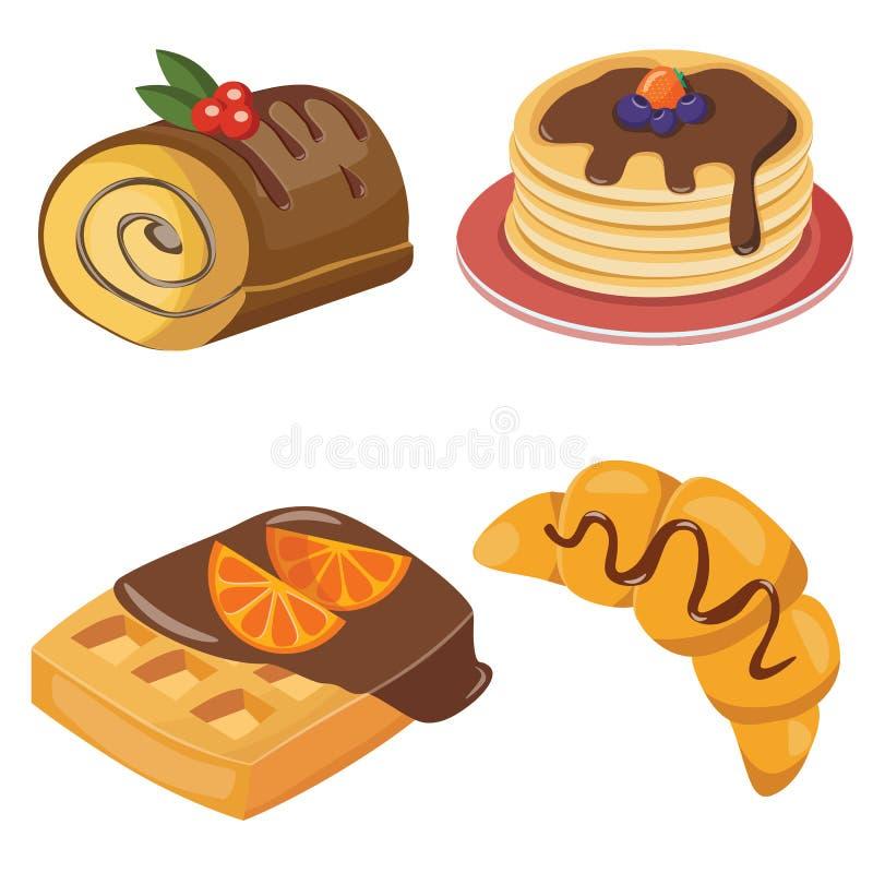 σύνολο croissant, jamroll, puncake και βαφλών διανυσματική απεικόνιση