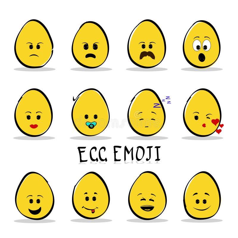 Σύνολο emoji 12 αυγών που απομονώνεται στο σαφές υπόβαθρο διανυσματική απεικόνιση