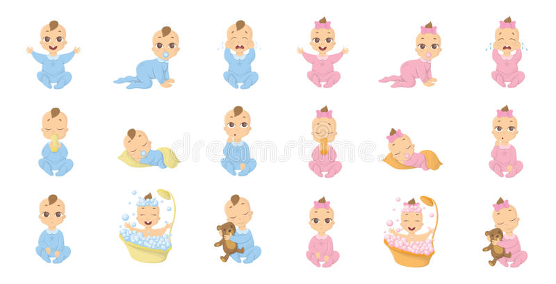 Σύνολο emoji μωρών ελεύθερη απεικόνιση δικαιώματος