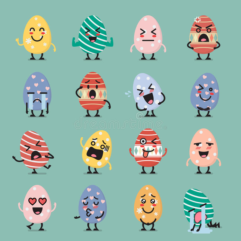 Σύνολο emoji χαρακτήρα αυγών Πάσχας ελεύθερη απεικόνιση δικαιώματος