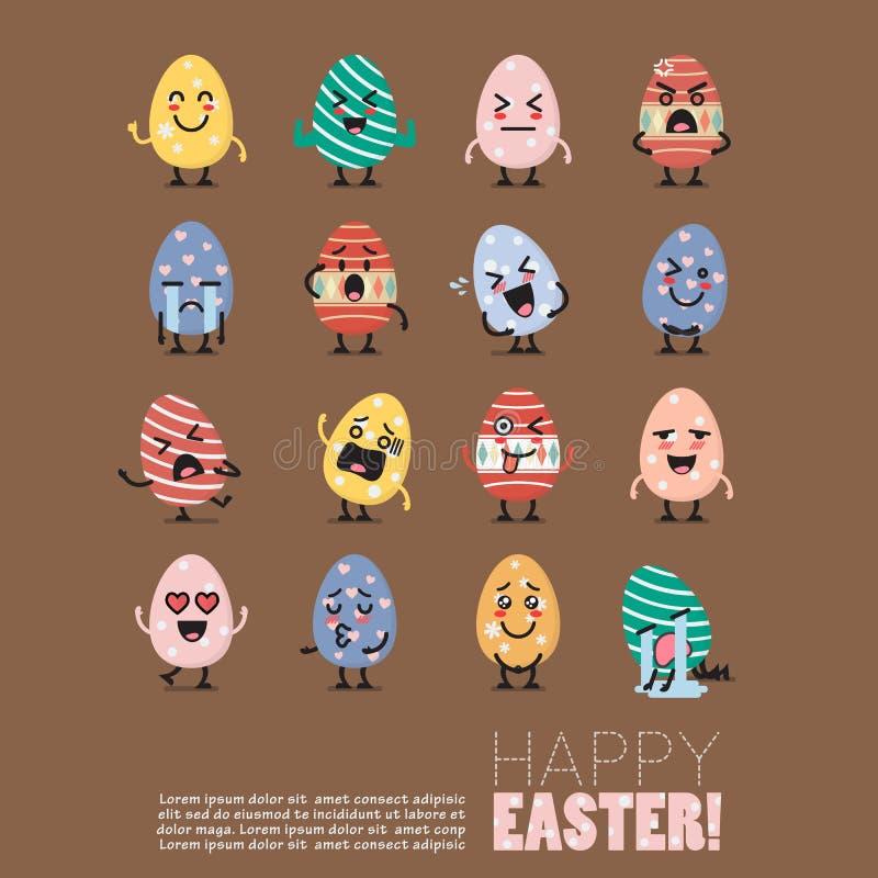Σύνολο emoji χαρακτήρα αυγών Πάσχας διανυσματική απεικόνιση
