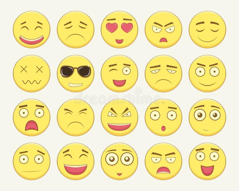 Σύνολο Emoticon Emoticon για τον ιστοχώρο, συνομιλία, sms Σύγχρονο επίπεδο σχέδιο διάνυσμα ελεύθερη απεικόνιση δικαιώματος