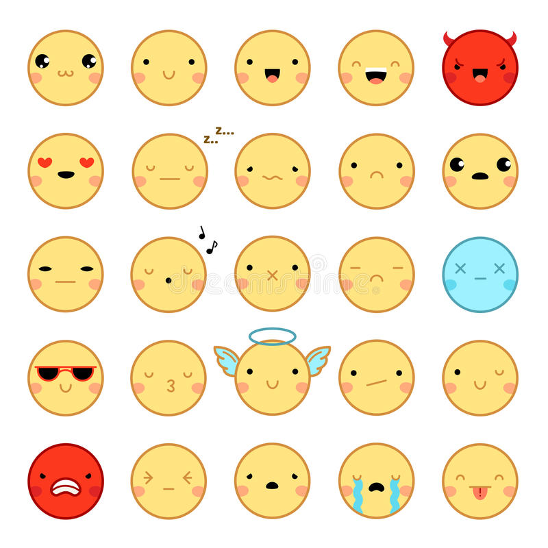 Σύνολο Emoticons Emoji ελεύθερη απεικόνιση δικαιώματος
