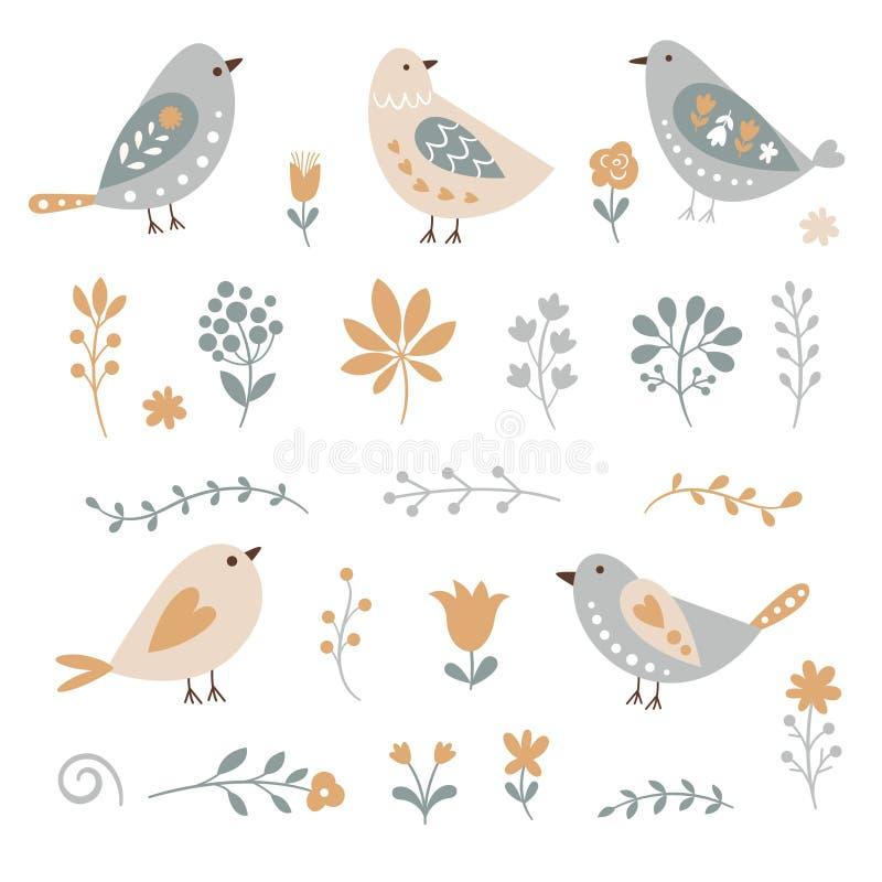 Σύνολο floral στοιχείων και πουλιών διανυσματική απεικόνιση