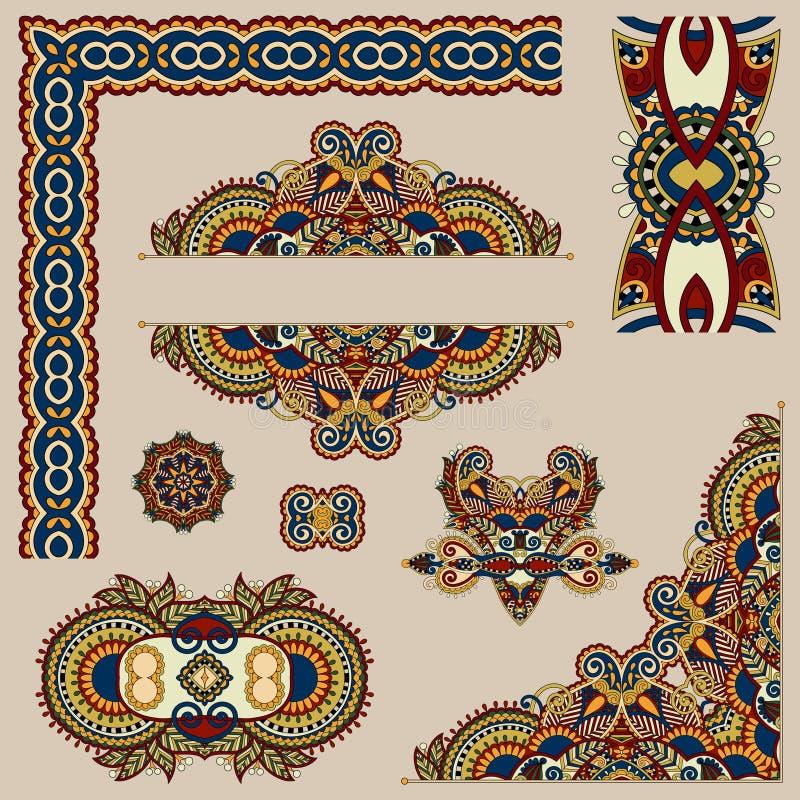 Σύνολο floral στοιχείων σχεδίου του Paisley για τη σελίδα απεικόνιση αποθεμάτων