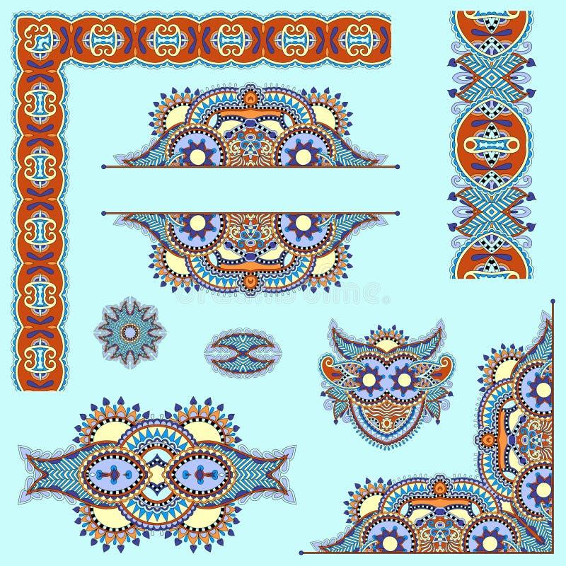 Σύνολο floral στοιχείων σχεδίου του Paisley για τη σελίδα διανυσματική απεικόνιση