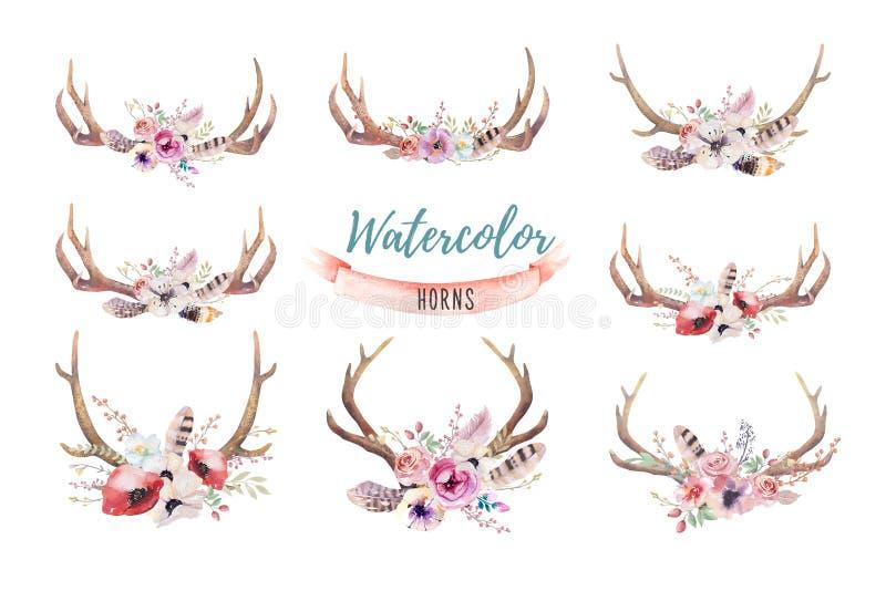 Σύνολο floral τυπωμένης ύλης ελαφόκερων boho watercolor δυτικό Βοημίας de διανυσματική απεικόνιση