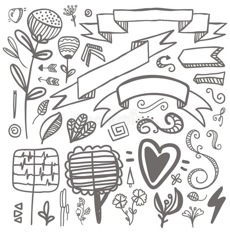 Σύνολο hand-drawn διανυσματικού διακοσμητικού γάμου στοιχείων, γάμος, διανυσματική απεικόνιση