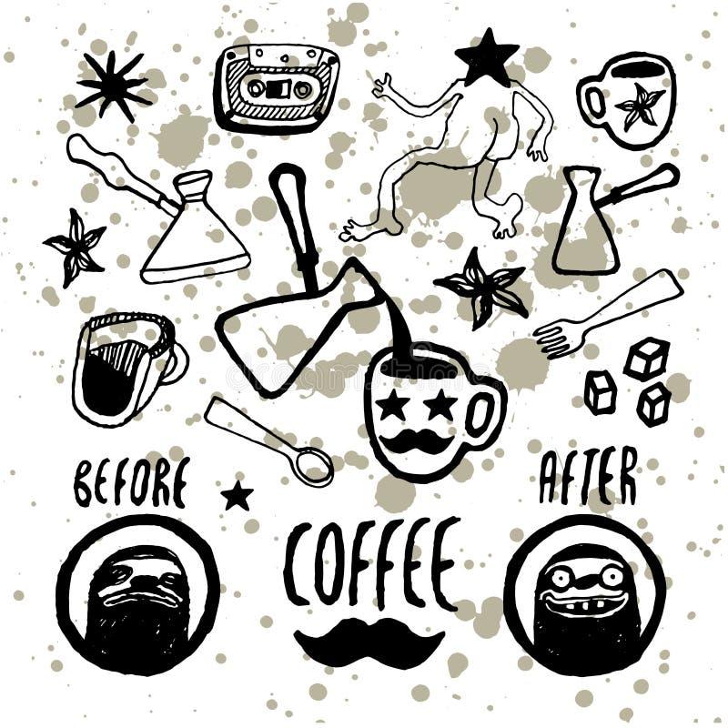 Σύνολο hand-drawn στοιχείων καφέ Σχέδιο επιλογών για το καφέ, καφές, εστιατόριο επίσης corel σύρετε το διάνυσμα απεικόνισης ελεύθερη απεικόνιση δικαιώματος